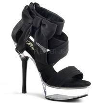 PLEASER Sexy Shoes Platform Criss Cross Black Chiffon Bow High Heels San... - $69.95