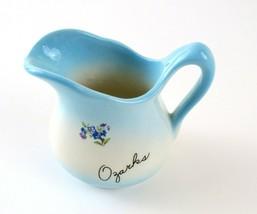 Vintage Miniature Ozarks Ceramic Souvenir Blue and White Pitcher  - $7.91