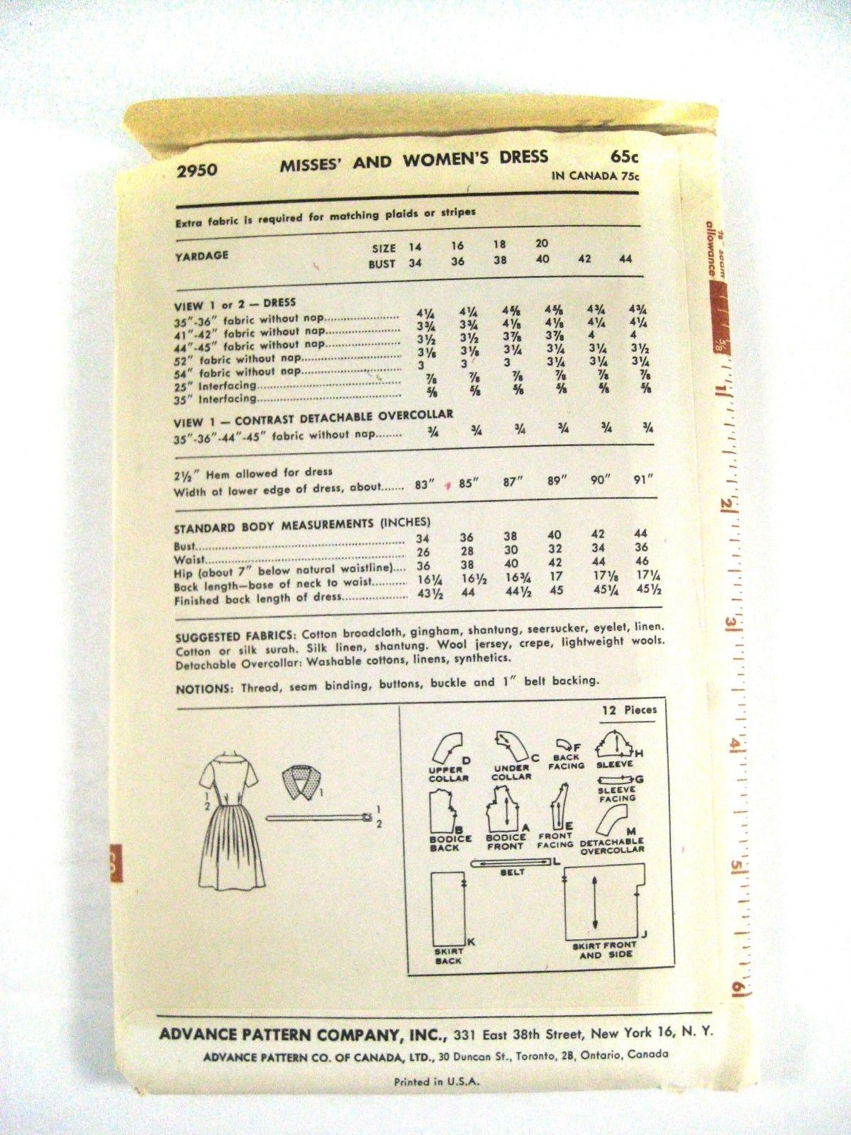 Vintage 60s Advance 2950 Misses Shirtwaist Dress Short Sleeve V-Neck 16/36 image 3