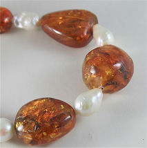 SOLID 18K YELLOW GOLD NECKLACE WITH DROP PEARLS AND BALTIC AMBER MADE IN ITALY image 4