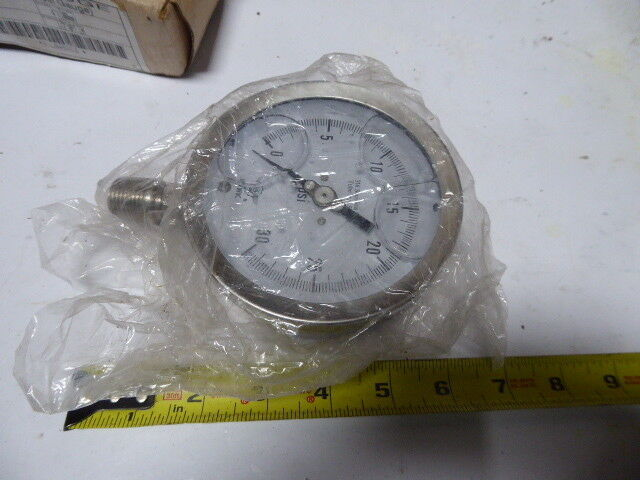 "Hawk 21L04S2C2 Gauge All Stainless Steel Gauge Dial Size 4"" Range 0-30 Psi New"