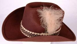 BOLLMAN U.S.A. Cowboy Hat-100% Wool-Feather-Band-Size 7 1/4-Brown-Vtg-We... - $37.39