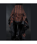 Black Brown Striped Steampunk Corset Back Long 3 Layer Victorian Goth Skirt - $65.51