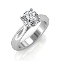 14K White Gold Engagement Ring 0.30Ct Diamond Soliraire Anniversary Ring - $568.63