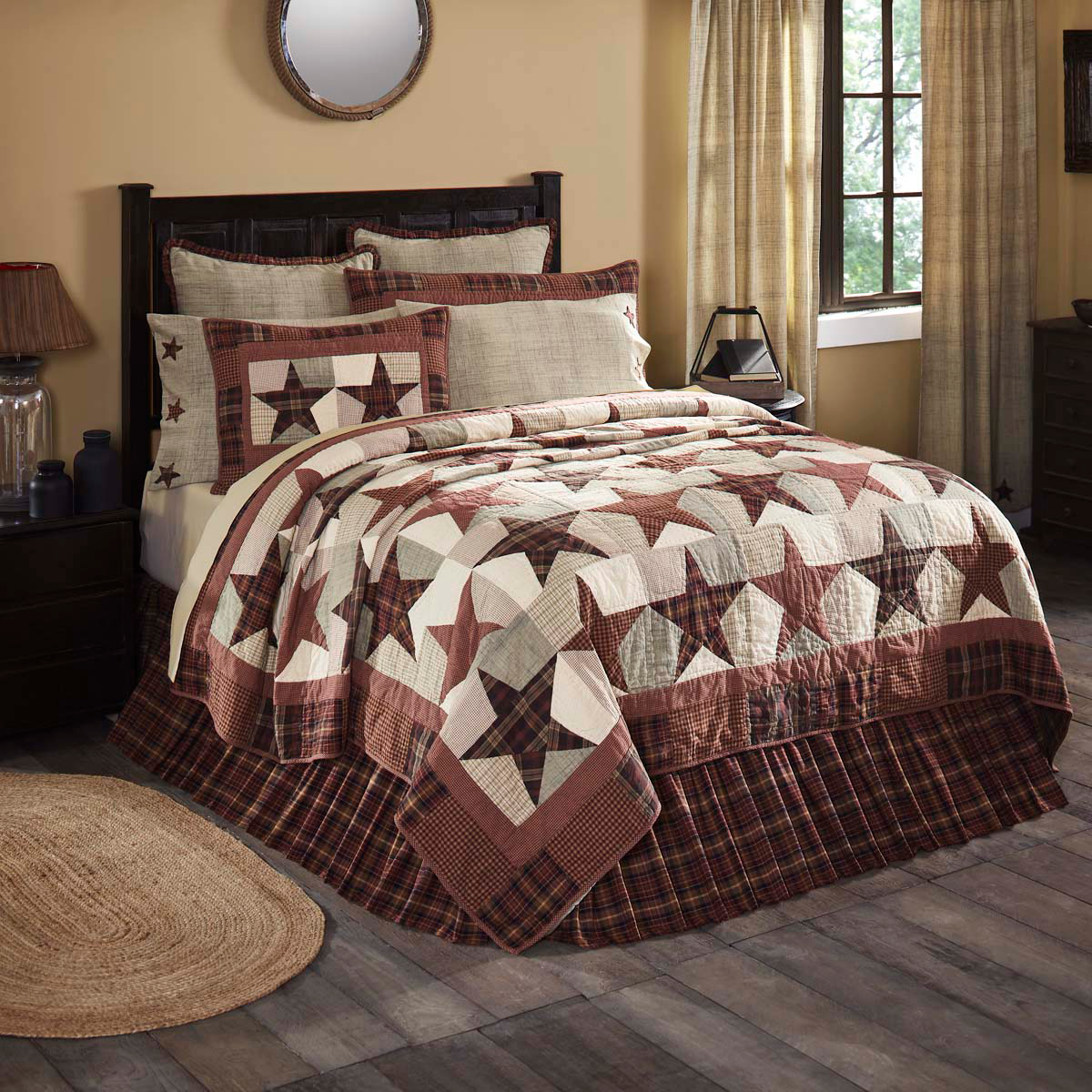 8-pc Luxury California King Abilene Star Quilt Set - Stars & Plaids Five Patch