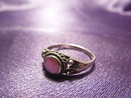 Sterling Silver Pink Mother of Pearl Ring Women's Size 6 Leaf Details - $19.80