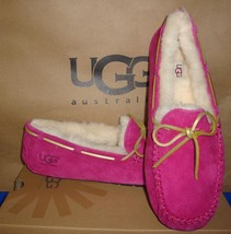 UGG Australia DAKOTA Red Violet Suede Sheepskin Moccasins Size US 6 NEW #5612 - $59.35