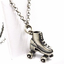 Necklace and Pendant, Silver 925, Burnished Satin, Skate to Castors, Chain image 1