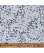 Cotton Blueprints Architecture Designs Buildings White Fabric Print BTY ... - $12.95