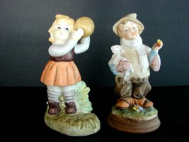 2 Vintage  ALBERT E PRICE  Bisque Figurines Girl with Ball & Boy with Goat  - $3.95