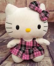"Ty Hello Kitty 9'"" Plush Black & Pink Plaid Dress Beanie Buddies Collect... - $7.59"