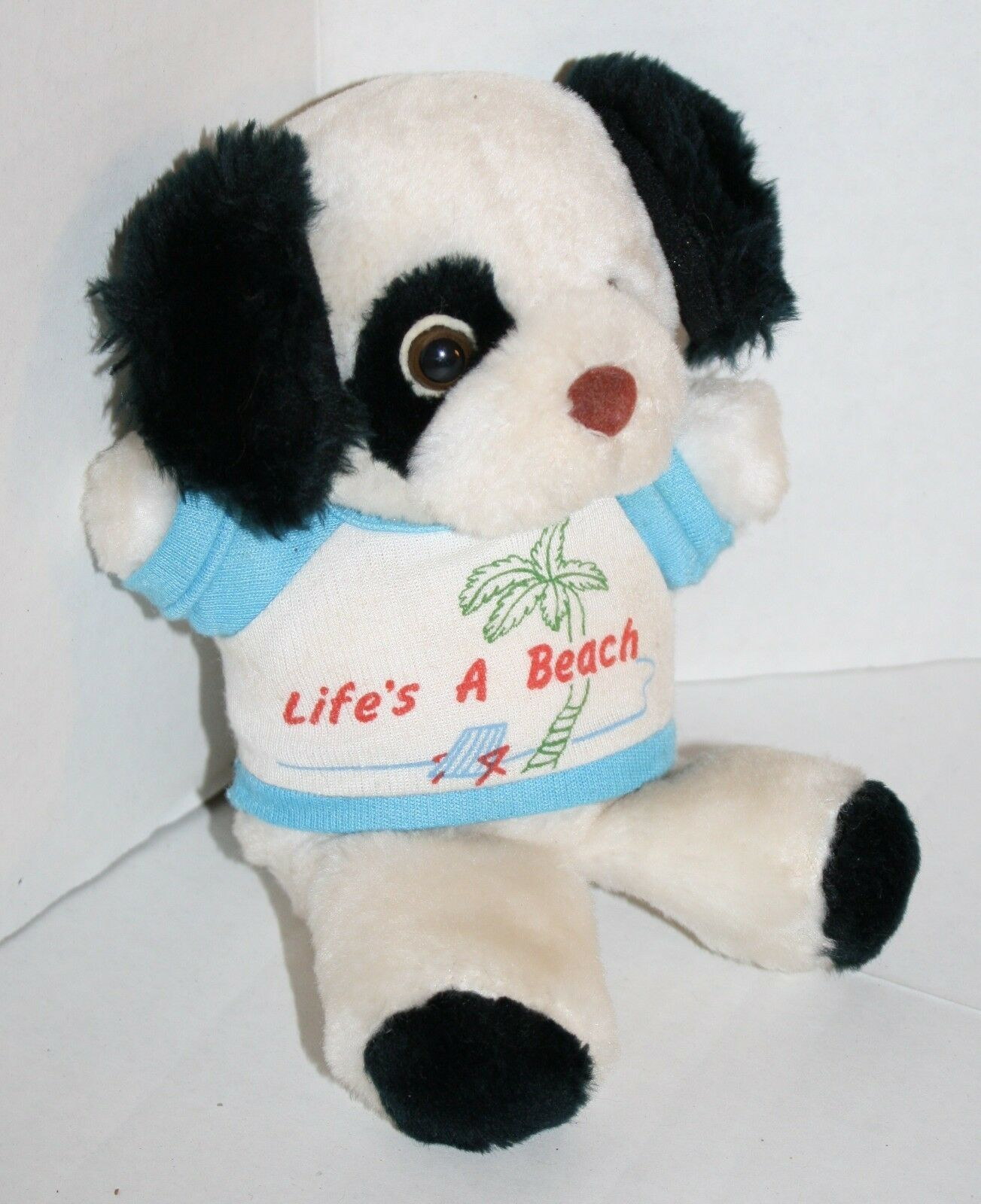 "Primary image for Russ Berrie Stuffed Animal DOG 7"" Lifes A Beach Shirt Plush White Black Vtg 1730"