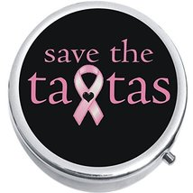 Save The Tatas Medicine Vitamin Compact Pill Box - $9.78