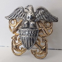 Vintage WW2 US Navy Collar Uniform Cap Pin - Shield Eagle Anchor Rope - $12.19