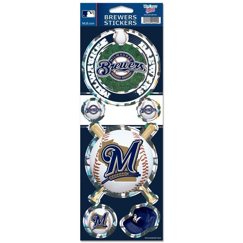 MILWAUKEE BREWERS PRISMATIC HOLOGRAPH STICKER DECAL SHEET OF 5 MLB BASEBALL
