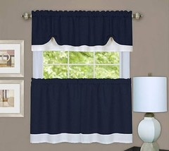 Rich Navy Textured Dual Layer 3 Piece Tiers & Window Valance Curtain Set... - $13.85