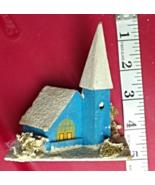 Vintage CHRISTMAS VILLAGE Church Blue PUTZ Japan Paper Mache 1920's - $29.95