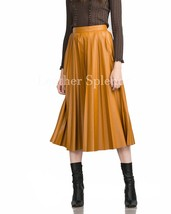 Pleated Day Time Women Leather Skirt