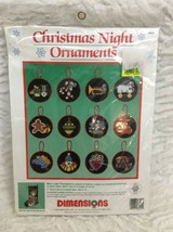 Dimensions Cross Stitch Kit 8401 Christmas Night Ornaments Set Of 12 New Sealed - $14.84