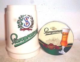 Staropramen Praha Czech Beer Stein & 4 Coasters in Box - $19.95