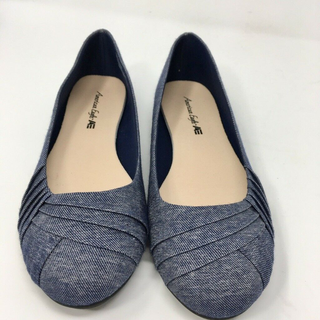 American Eagle Women's Cloth Ballet Flat, Size 9.5 W Blue Denim