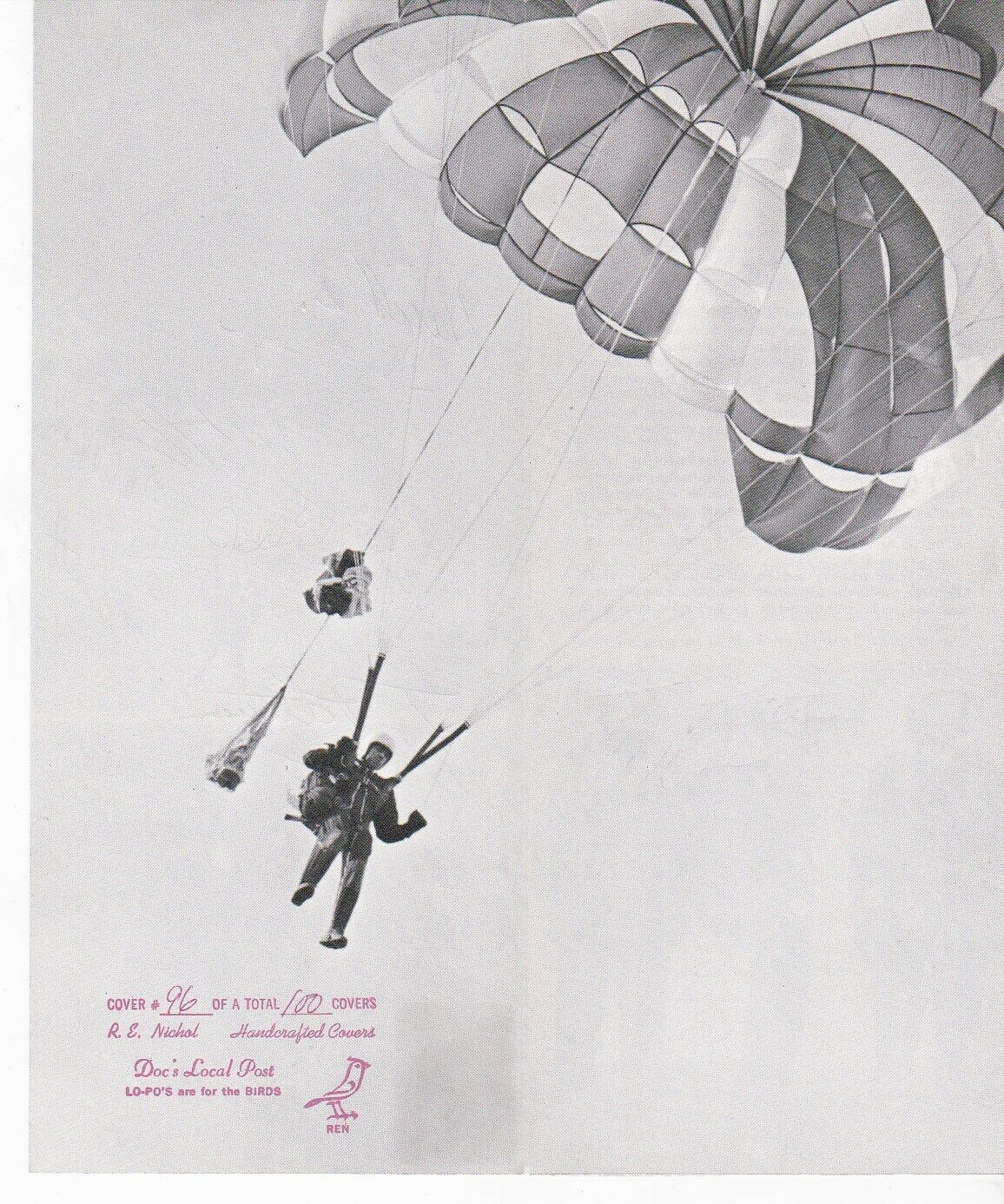 7th ARMY PARACHUTE TEAM PARACHUTE MAIL SIGNED BY 12 MEMBERS APO 1973 #96 OF 100