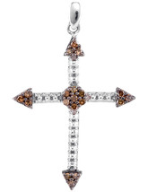 10k White Gold Round Brown Color Enhanced Diamond Cross Beaded Pendant 1/6 - $144.00