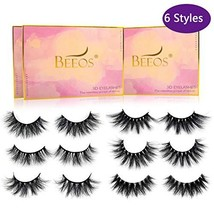 BEEOS False Eyelashes 3D Mink Lashes, 16-25 mm 6 Different Styles Multip... - $31.10