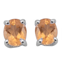6X4 MM Citrine Stone 925 Sterling Silver Oval Stud Earring Jewelry SHER0353 - $23.83