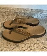 CROCS- Womens Canvas Rubber Leopard Print- Slide Thong Flip Flop Sandals 9 - $27.67