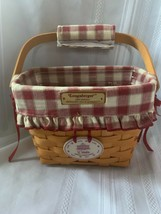 Longaberger 1997 Dresden Tour Basket Combo Red Plaid Liner, Grip, Tie-on & PP - $46.74