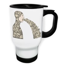 Abstract Design Robot Man  White/Steel Travel 14oz Mug y233t - $17.79