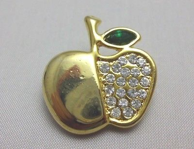 VTG Gold Tone Apple with Clear White & Green Rhinestone Pin Brooch