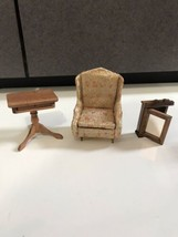 Vtg Mini Doll House Furniture room Ideal Chair medicine cabinet  Table j... - $16.78