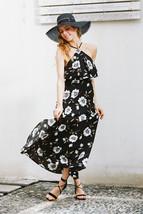 2017 Navy Floral Print High Split Beach Long Dress Halter Backless Maxi ... - $45.99