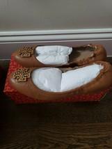 Tory Burch Melinda Ballet Flat Tumbled Leather Royal Tan, Sz 10, NIB! - $173.24