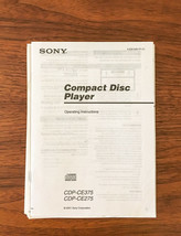 Sony CDP-CE375 CDP-CD275 CD Player Owners Manual *Original* #1 - $13.97