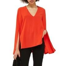 Topshop women 2 slit bell long sleeve red v-neck blouse - $27.72