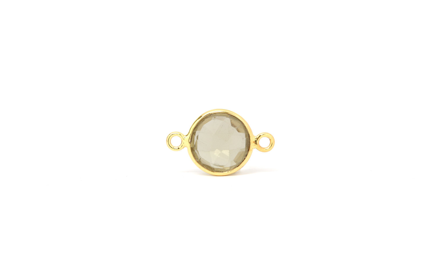 Primary image for Bezel Connector, Green Amethyst, Gold Plated Sterling Silver, 12mm, 1Pc (6938)/1