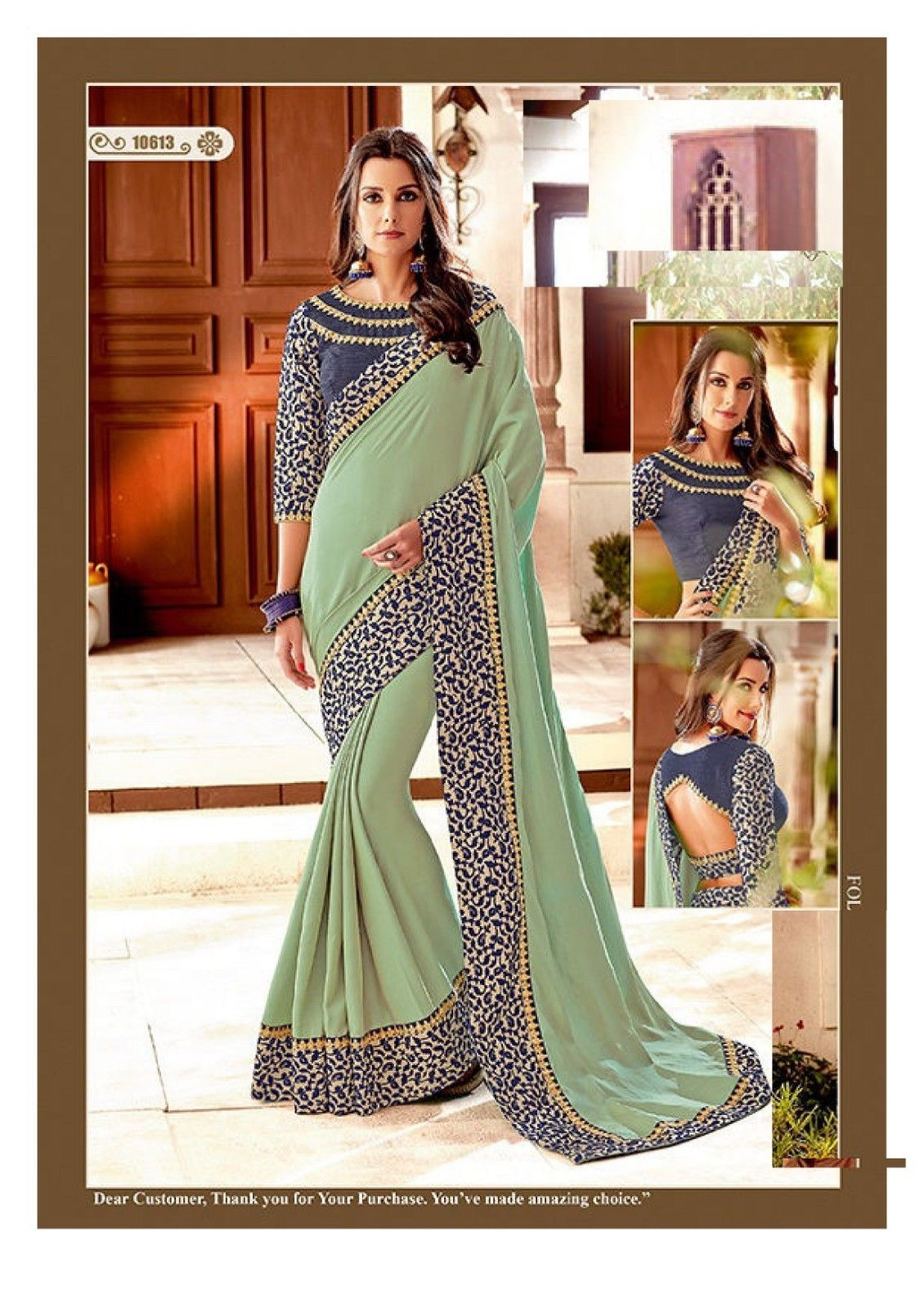 Primary image for Indian Mint Green Party Wear Sari Bollywood Designer Blouse Saree 7484