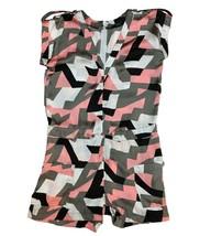 Vertigo Paris Womens Pink White Gray Print Short Sleeve Casual Shorts Ro... - $11.88