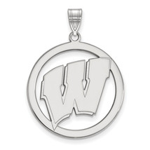 Sterling Silver LogoArt University of Wisconsin L Pendant in Circle - $82.00