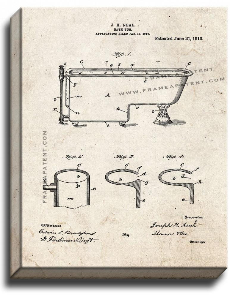 Primary image for Bath Tub Patent Print Old Look on Canvas