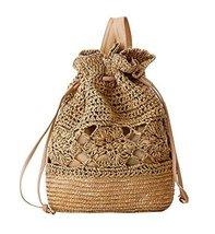 Fashion Vacation Item/Crochet Flower Straw Backpack/ Beach Bag/Light Brown