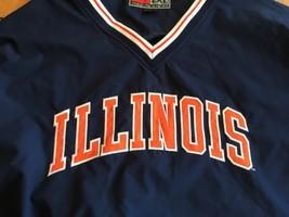 Illinois Illini Jacket  Mens 2XL Blue Orange Nylon Pullover V Neck NWOT new - $21.84