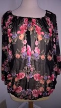INTERNATIONAL CONCEPTS FLORAL SHEER TOP 14W NWT - $8.98