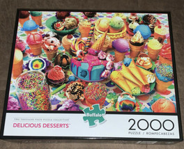 Buffalo Games Delicious Desserts 2000 Piece Jigsaw Puzzle Ice Cream Cake - $24.45