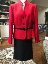 New w/tag Tahari size 22 W red belted jacket black skirt suit - $128.62