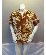 Vintage Hawaiian Shirt - Bamboo Leaf Abstract Pattern by Mark Christophe... - $55.00