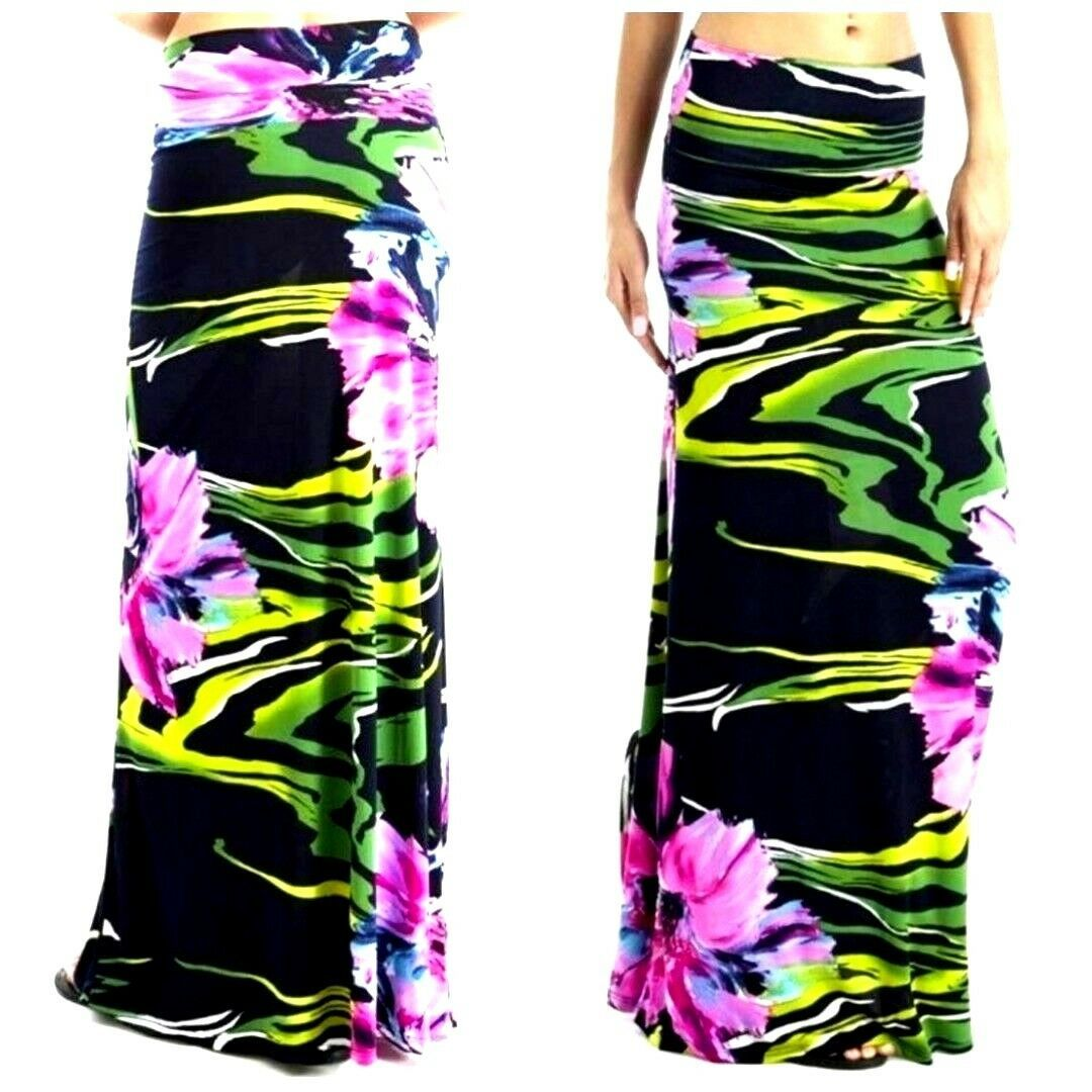 Womens Purple Floral High Waist Slim Fit Long Maxi Skirt S M image 5